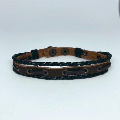 Handgjort armband för män äkta brunt läder flätade d