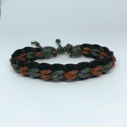Handgjort armband för män äkta läder och färgade rep