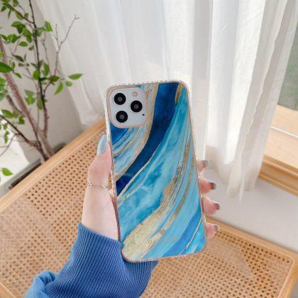 iPhone 12 ,12 Pro & 12 Pro Max Skal i blått guld marmor vattenfärg