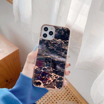 iPhone 12 ,12 Pro & 12 Pro Max Skal i turkos marmor guld detaljer