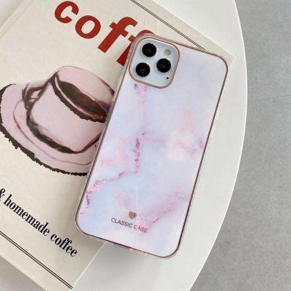 iPhone 12 ,12 Pro & 12 Pro Max Skal i vit rosa marmor roseguld detaljer