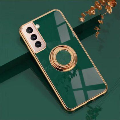 Samsung Galaxy S21 Lyxigt Stilrent skal med ring ställ-funktion Guld