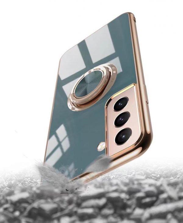 Samsung Galaxy S21 Plus Lyxigt Stilrent skal med ring ställ-funktion Guld