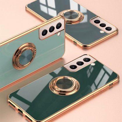 Samsung Galaxy S21 Ultra Lyxigt Stilrent skal med ring ställ-funktion Guld
