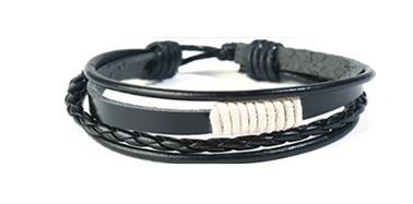Set á 4 stk handgjorda flätade armband i svart vit läder knut