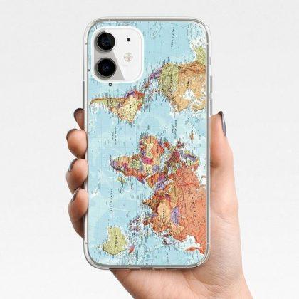 iPhone 12, 12 Pro & Max skal m. världskarta blå kontinenter