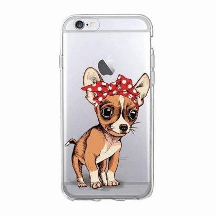 iPhone 12, 12 Pro & Max transparent skal chihuahua med bandana
