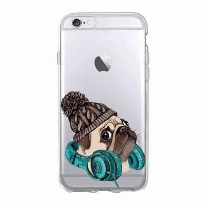 iPhone 12, 12 Pro & Max transparent skal hund mops mössa hörlurar