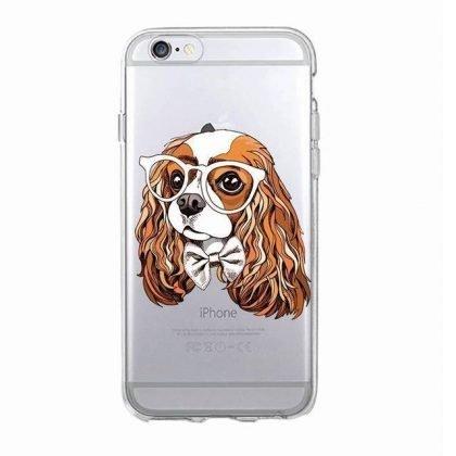 iPhone 12, 12 Pro & Max transparent skal hund med vita glasögon
