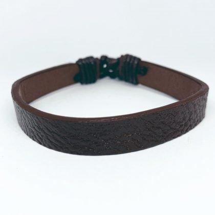 Handgjort naturligt armband brunt läder slät insida