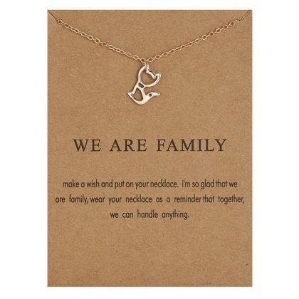 We are family - halsband med en katt 18K guldpläterat gåva