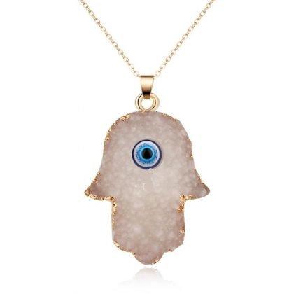 Fatimas hand med öga-handgjort halsband med aura quartz & resin