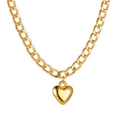 Guldpläterat halsband kedja choker i guld hjärta berlock