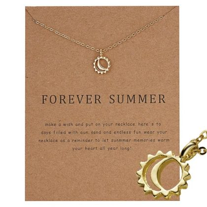 Forever summer -halsband med sol 18K guldpläterad gåva sommar