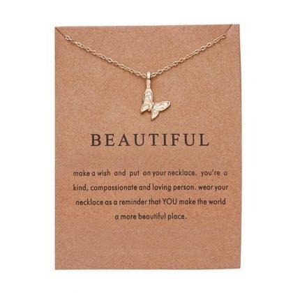 Beautiful -halsband med fjäril 18K guldpläterad gåva vacker