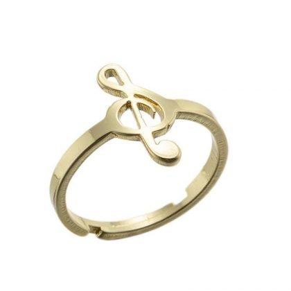 Guldpläterad ring med g-klav justerbar musik passar alla