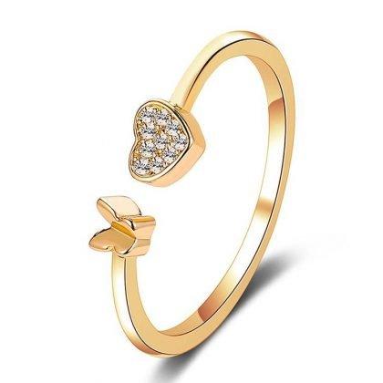 Guldpläterad ring med hjärta och fjäril justerbar passar alla