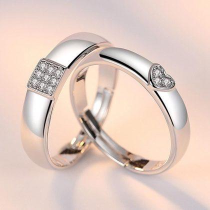 Matchande silverpläterade ringar med hjärta för män och kvinnor
