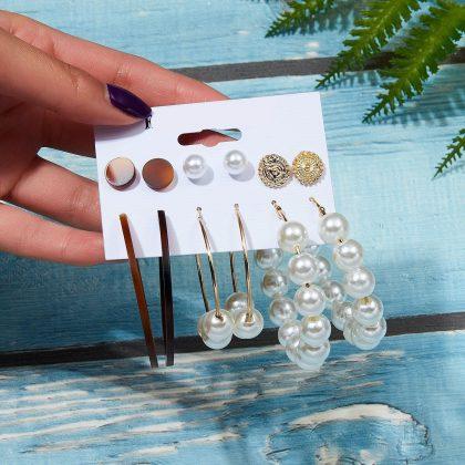 Örhängen set á 6 stk guldpläterade pärla guld hoops orientalisk