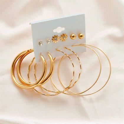 Örhängen set á 6 stk guldpläterade ringar hoops diamant blomma