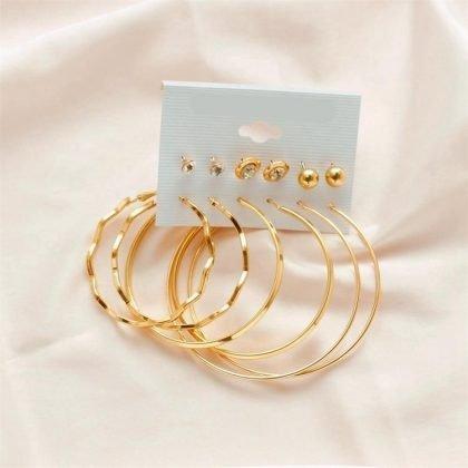Örhängen set á 6 stk guldpläterade ringar hoops diamanter classy