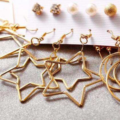 Örhängen set á 6 stk guldpläterade stjärna hoops romb diamant