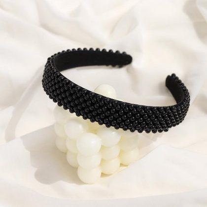 Handgjort Lyxigt brett Diadem i tyg med band av pärlor svart vit
