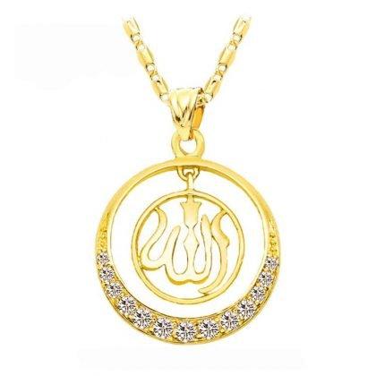 18 karat guldpläterad kedja Allah muslim med zirkon diamant
