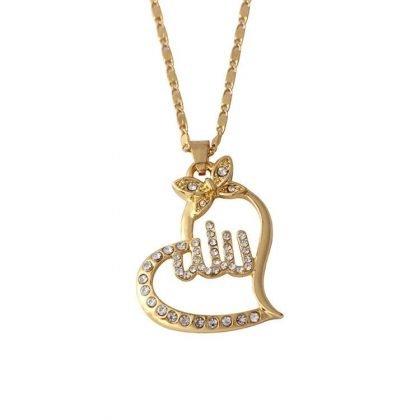 18k guldpläterad kedja Allah muslim med zirkon diamant hjärta