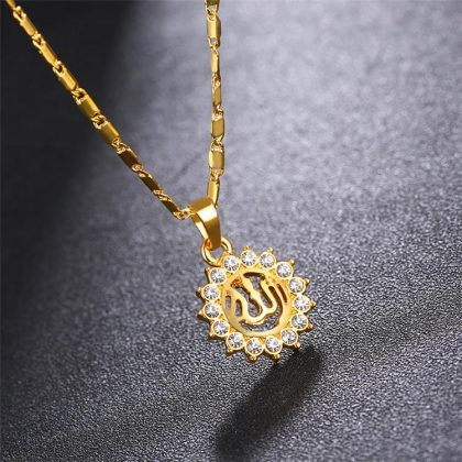 18k guldpläterad kedja Allah muslim med kristall diamant sol