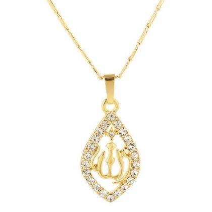 18k guldpläterad kedja Allah muslim med kristall diamant islam