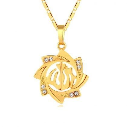18k guldpläterad kedja Allah muslim m kristall sol blomma islam