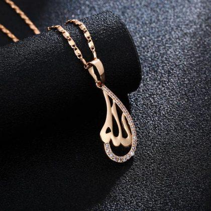 18k guldpläterad kedja smycke vattendroppe kristall islam allah