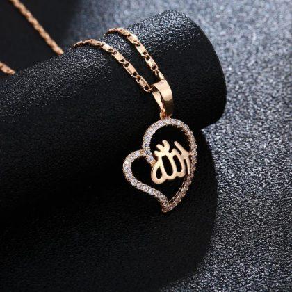 18k guldpläterad kedja smycke hjärta zirkon islam allah