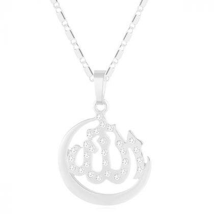 18k silverpläterad kedja smycke måne zirkon islam allah