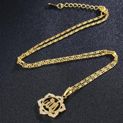 18k guldpläterad kedja smycke sol blomma zirkon islam allah