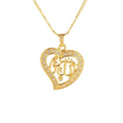 18k guldpläterad hängsmycke smycke hjärta guld zirkon islam allah