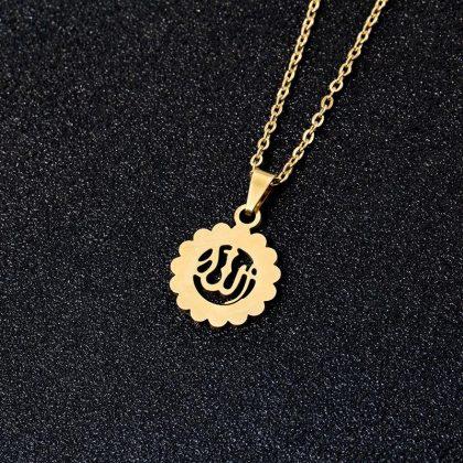 18k guldpläterad hängsmycke smycke blomma utskuret guld islam allah