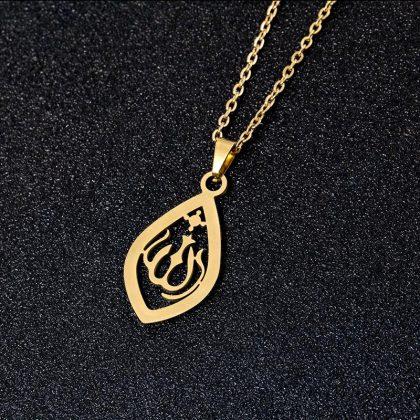 18k guldpläterad hängsmycke smycke religös utskuret guld islam allah