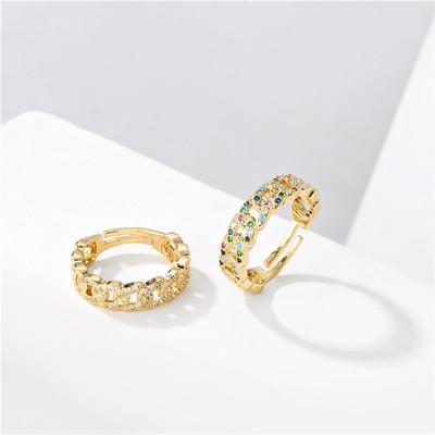 Justerbar ring med guldplätering och färgade stenar i zircon