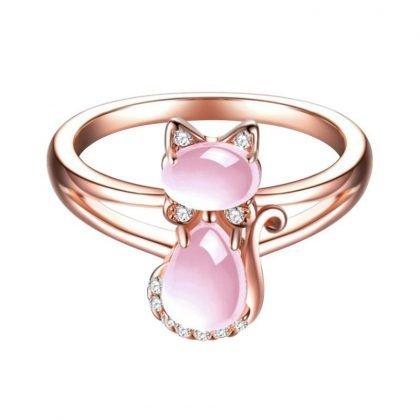 Rosa ring med kattmotiv i strass och stenar roseguld katt