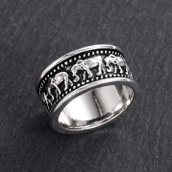 Silverpläterad ring med elefanter för män
