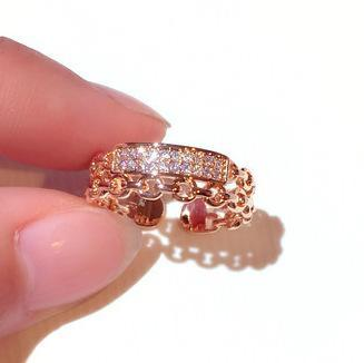 Guldpläterad evighetsband dubbelring rosé och silver m diamant