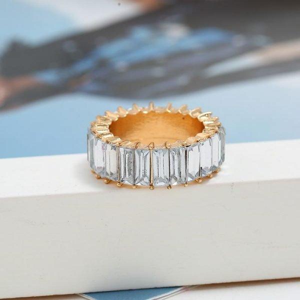 Guldpläterad evighetsband ring med zirkonkuber nickelfri