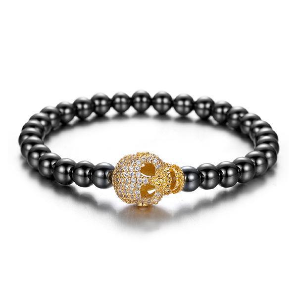 Armband med dödskalle med diamanter elastiskt band unisex zirkon