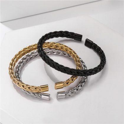Armband i flätat stål i silver och guld unisex universal fit