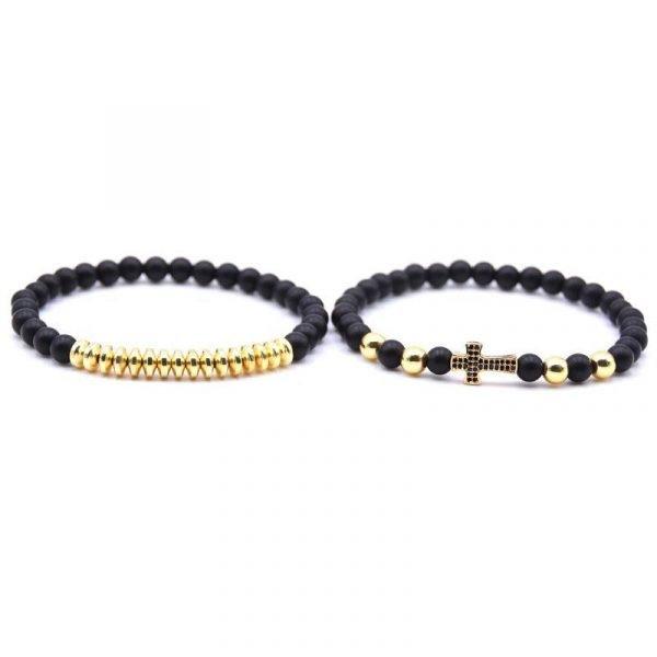 Dubbelt armband med sten & guld/silverkulor och guldkors unisex