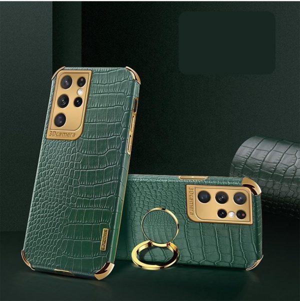Samsung Galaxy S21 Lyxigt Stilrent skal med krokodilskinn & ring