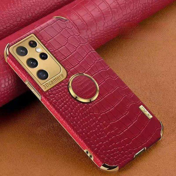 Samsung Galaxy S21 Ultra Lyx Stilrent skal m krokodilskinn & ring