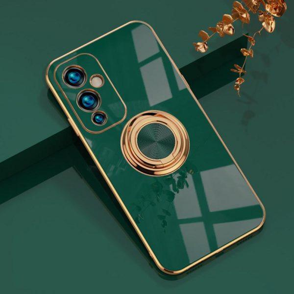 OnePlus 9 Lyxigt Stilrent skal med ring ställfunktion guld
